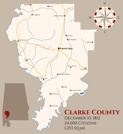 Large and detailed map of Clarke County in Alabama, USA  イラスト・ベクター素材