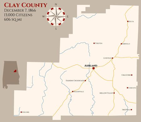 Large and detailed map of Clay County in Alabama, USA  イラスト・ベクター素材