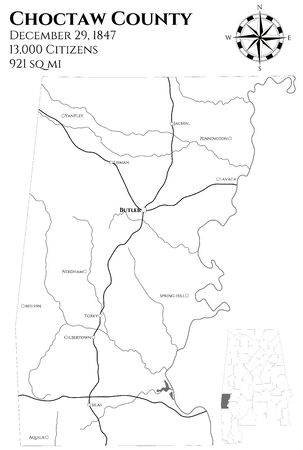 Large and detailed map of Choctaw County in Alabama, USA