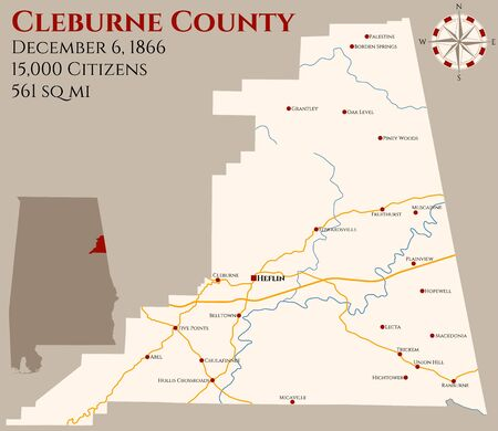 Large and detailed map of Cleburne County in Alabama, USA