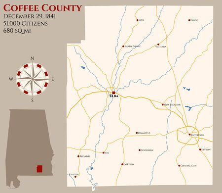 Large and detailed map of Coffee county in Alabama, USA