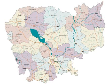 Large and detailed map of the state of Cambodia in Asia  イラスト・ベクター素材