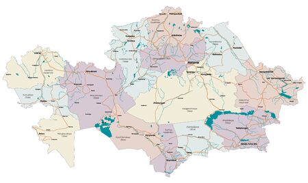 Large and detailed map of the state of Kazakhstan