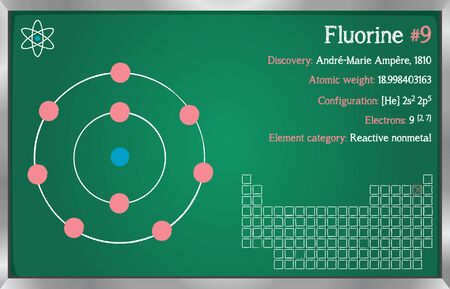 Detailed infographic of the element of Fluorine.  イラスト・ベクター素材