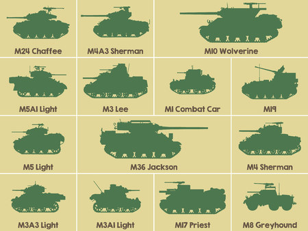 Different set military icons of American tanks