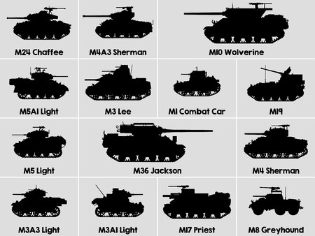 Diferentes iconos militares de tanques estadounidenses