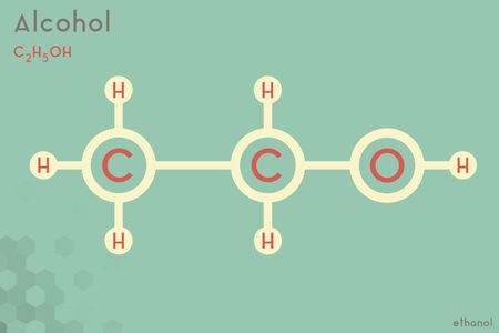 Large and detailed infographic of the molecule of Alcohol.