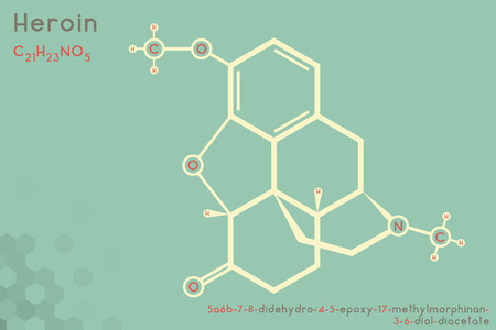 Large and detailed infographic of the molecule of heroin.