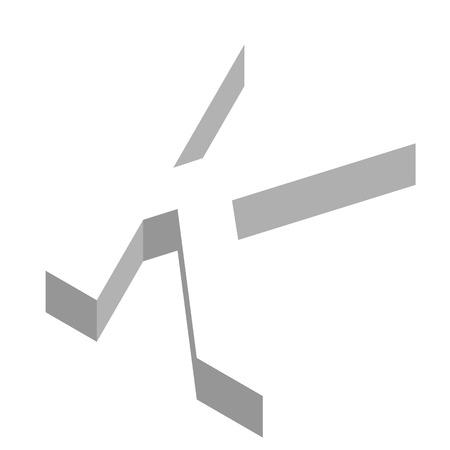 Der Buchstabe K in dreidimensionaler Ansicht Vektorgrafik