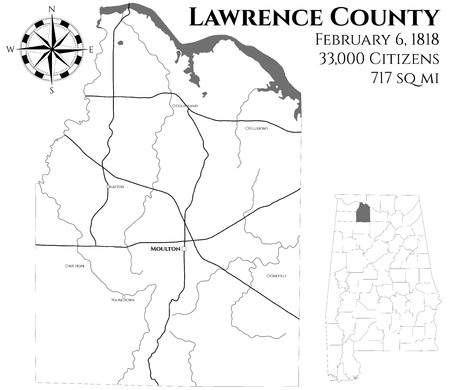 Large and detailed map of Lawrence County in Alabama, USA Çizim
