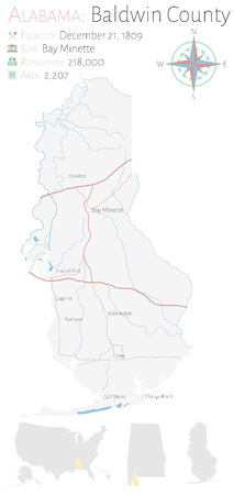 Large and detailed map of Baldwin County in Alabama, USA Çizim