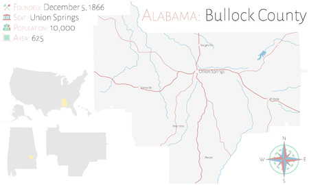 Large and detailed map of Bullock County in Alabama, USA