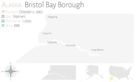 Large and detailed map of Bristol Bay Borough in Alaska, USA Illustration