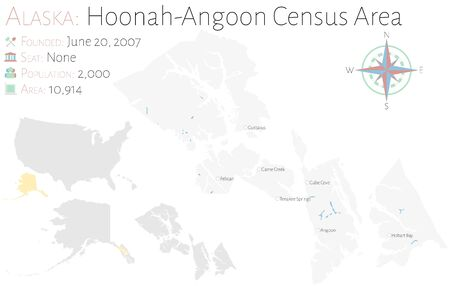 Large and detailed map of Hoonah-Angoon Census Area in Alaska, USA