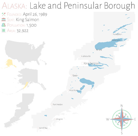 Large and detailed map of Lake and Peninsula Borough in Alaska, USA