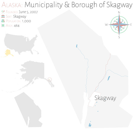 Large and detailed map of Municipality and Borough of Skagway in Alaska, USA Illustration