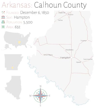 Large and detailed map of Calhoun County in Arkansas, USA