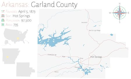 Large and detailed map of Garland County in Arkansas, USA