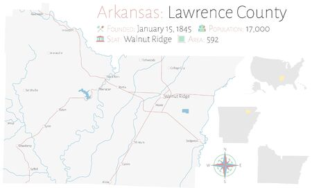 Large and detailed map of Lawrence County in Arkansas, USA