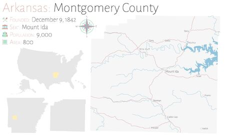 Large and detailed map of Montgomery County in Arkansas, USA