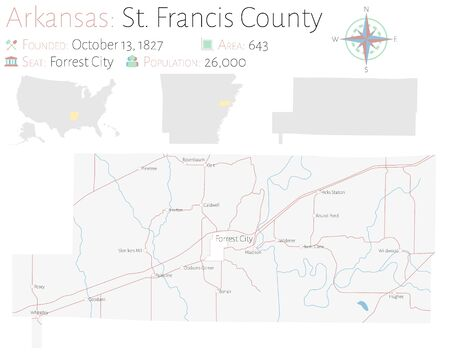 Large and detailed map of Saint Francis County in Arkansas, USA