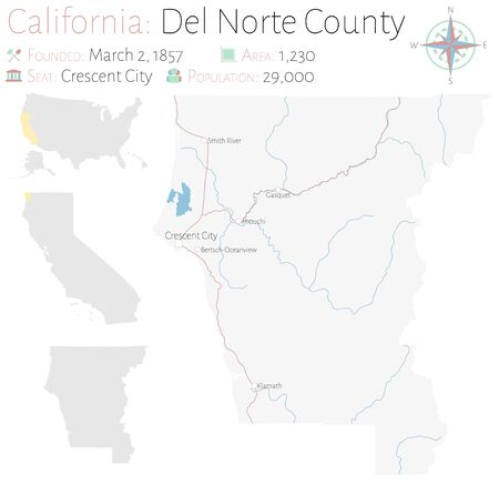 Large and detailed map of Del Norte County in California, USA