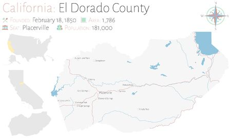 Large and detailed map of El Dorado County in California, USA