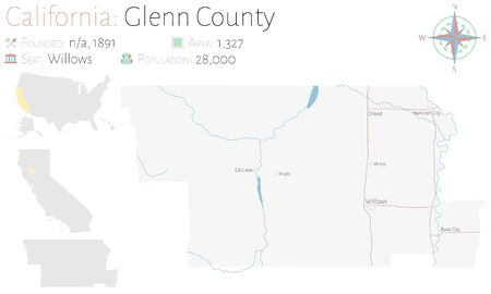 Large and detailed map of Glenn County in California, USA