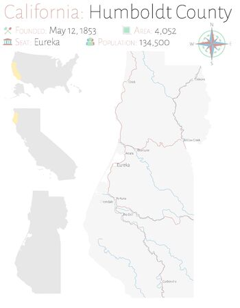 Large and detailed map of Humboldt County in California, USA Ilustracja