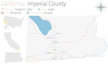 Large and detailed map of Imperial County in California, USA Ilustracja