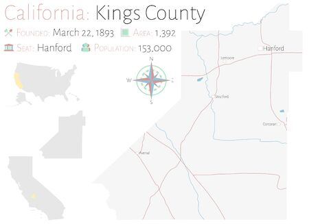 Large and detailed map of Kings County in California, USA