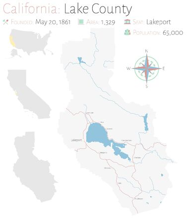 Large and detailed map of Lake County in California, USA Ilustração