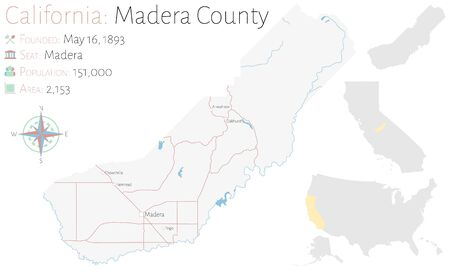 Large and detailed map of Madera County in California, USA Ilustracja