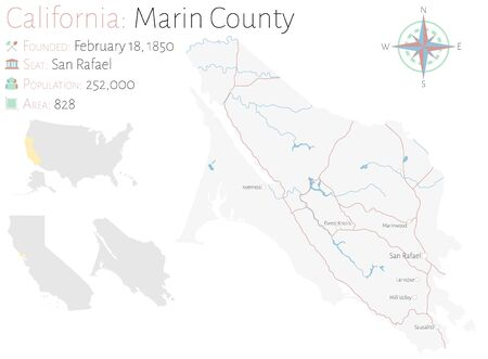 Large and detailed map of Marin County in California, USA