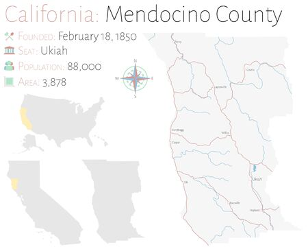 Large and detailed map of Mendocino County in California, USA