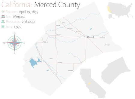 Large and detailed map of Merced County in California, USA Ilustracja