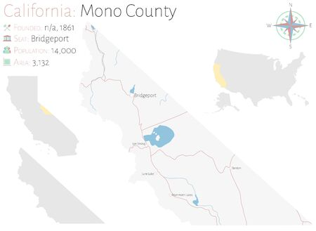 Large and detailed map of Mono County in California, USA
