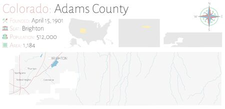 Large and detailed map of Adams County in Colorado, USA Illustration