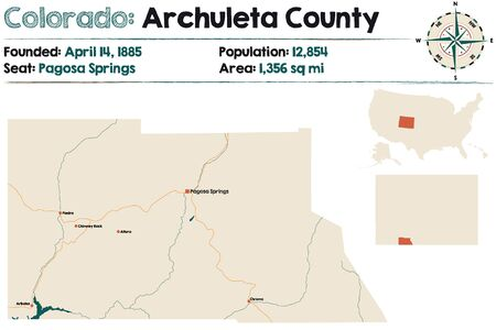Large and detailed map of Archuleta County in Colorado, USA