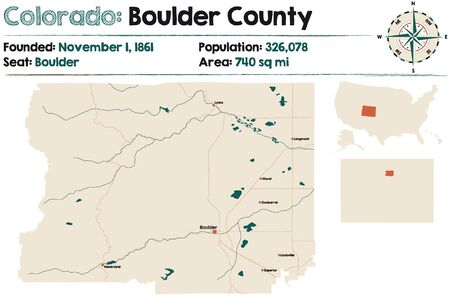 Large and detailed map of Boulder County in Colorado, USA
