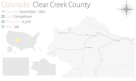 Large and detailed map of Clear Creek County in Colorado, USA