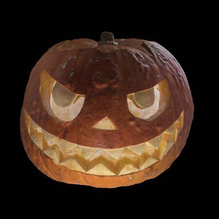 Halloween scary pumpkin head on a black background