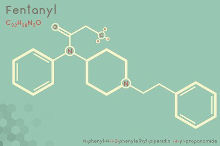 Large and detailed infographic of the molecule of Fentanyl. Çizim