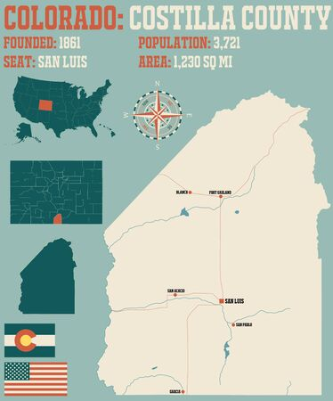 Large and detailed map of Costilla County in Colorado, USA Ilustrace