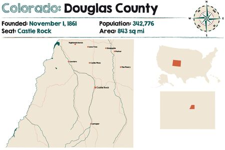 Large and detailed map of Douglas County in Colorado, USA