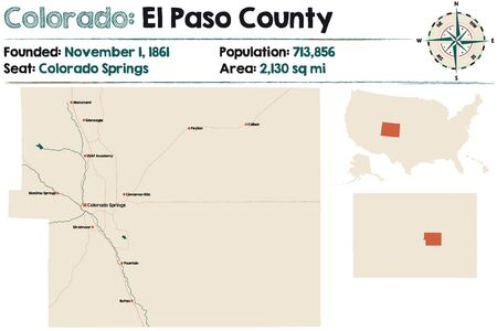 Large and detailed map of El Paso County in Colorado, USA Illustration