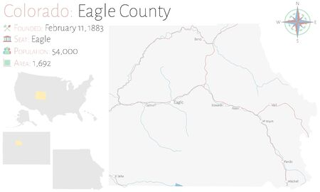Large and detailed map of Eagle County in Colorado, USA