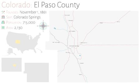 Large and detailed map of El Paso County in Colorado, USA Иллюстрация