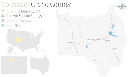 Large and detailed map of Grand County in Colorado, USA