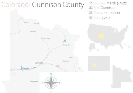 Large and detailed map of Gunnison County in Colorado, USA Иллюстрация